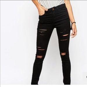ASOS Black Destroyed Ridley Skinny Jeans